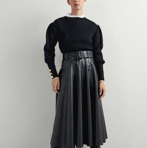 Zara Faux Leather Circle Skirt